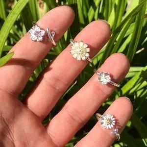 Spring Ring Set Silver Flower Boho Midi Dainty